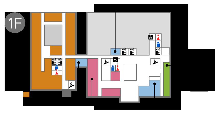1階フロアには正面玄関、総合相談室、外来診療、しらさぎ苑、就労支援センター(ぱーとなー)、売店、エレベータ、男子トイレ、女子トイレ、多目的トイレあります。また北口玄関(夜間出入口)があります。