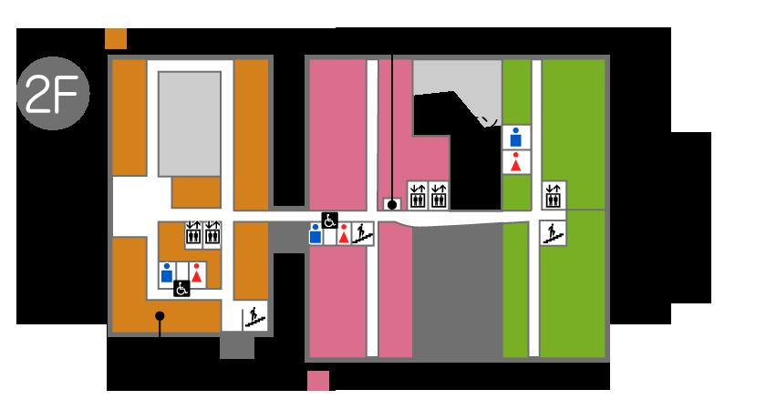 2階フロアには放射線科(共同利用)受付、検査室、しらさぎ苑、通所リハビリテーション、デイケア、就労訓練「港風舎」、レストラン、エレベータ、男子トイレ、女子トイレ、多目的トイレあります。