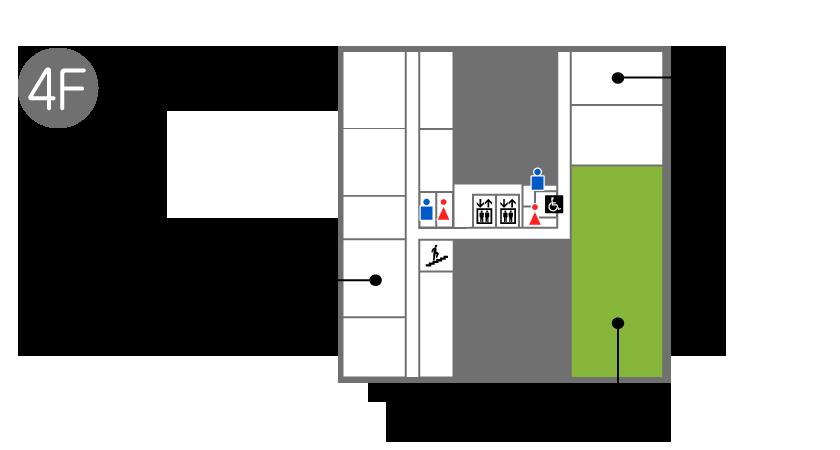 4階フロアにはシニアフィットネス、港北区生活支援センター、事務室、講堂、エレベータ、男子トイレ、女子トイレ、多目的トイレがあります。